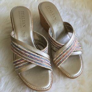 Italian Shoemakers gold & multicolor wedge sandal